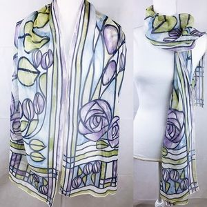 Vintage Silk Oblong Purple Stained Glass Scarf